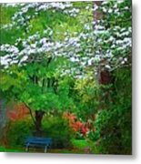 Blue Bench In Park Metal Print