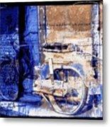 Blue Bike Abandoned India Rajasthan Blue City 2c Metal Print