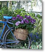 Blue Bike Metal Print