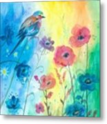 Blue Bird And Flowers Metal Print