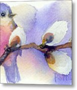 Blue Bird And Pussywillow Metal Print
