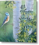 Blue Bird In A Birch  Metal Print