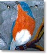 Blue Bird On Slate Metal Print