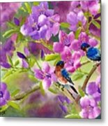 Blue Birds With Azalea Metal Print