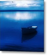 Blue Blue Boat Metal Print