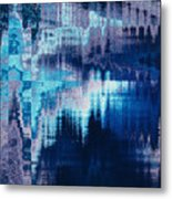 blue blurred abstract background texture with horizontal stripes. glitches, distortion on the screen broadcast digital TV satellite channels Metal Print