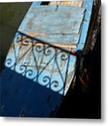 Blue Boat In Venice With Shadow Metal Print