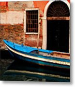 Blue Boat Venice Italy Metal Print