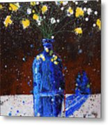 Blue Bottle And Flowers Metal Print