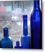 Blue Bottles Metal Print