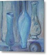 Blue Bottles  Metal Print by Michel Croteau