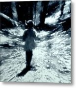 Blue Boy Walking Into The Future Metal Print