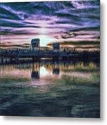 Blue Bridge At Sunset Metal Print