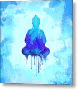 Blue Buddha Watercolor Painting Metal Print