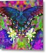 Blue Butterfly Pop Metal Print