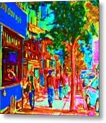 Blue Cafe In Springtime Metal Print