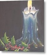 Blue Candle Metal Print