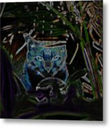 Blue Cat In The Garden Metal Print