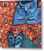 Blue Cats Metal Print