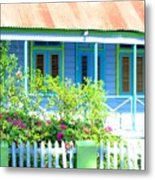 Blue Chattel House Metal Print