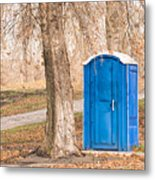 Blue Chemical Toilet In The Park Metal Print