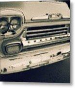 Blue Chevy Truck Grill Bw Metal Print