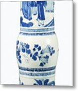 Blue  Chinese Chinoiserie Pottery Vase No 3 Metal Print