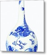 Blue  Chinese Chinoiserie Pottery Vase No 5 Metal Print