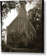 Blue Church In Gloucester Metal Print