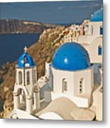 Blue Churches Of Santorini Metal Print by Jim Chamberlain