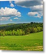 Blue Cloudy Sky Over Green Hills And Country Road Metal Print