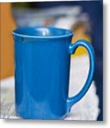 Blue Coffee Cup Metal Print