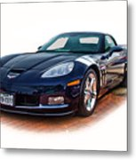 Blue Corvette Metal Print