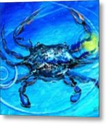 Blue Crab Abstract Metal Print