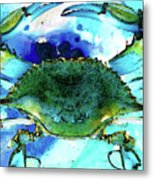 Blue Crab - Abstract Seafood Painting Metal Print