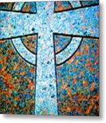 Blue Marbled Cross Metal Print
