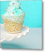 Blue Cupcake Metal Print