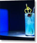 Blue Curacao Cocktail Drink With Cherry Metal Print