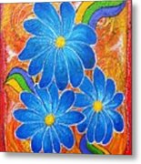 Blue Daisies Gone Wild Metal Print