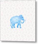 Blue Damask Elephant Metal Print
