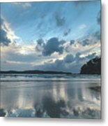 Blue Dawn Seascape With Cloud Reflections Metal Print