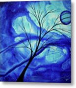 Blue Depth Abstract Original Acrylic Landscape Moon Painting By Megan Duncanson Metal Print