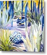 Blue Desert Botanical Desert Phoenix Metal Print