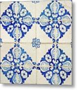 Blue Diamond Flower Tiles Metal Print