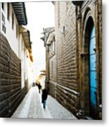 Blue Door In Cusco Metal Print by Darcy Michaelchuk