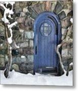 Blue Door In February Metal Print