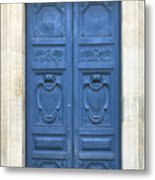 Blue Door In Paris Metal Print