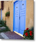Blue Door Of An Adobe Building Taos New Mexico Metal Print