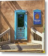 Blue Door On Canyon Road Metal Print
