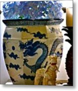Blue Dragon And Hydrangeas Metal Print
